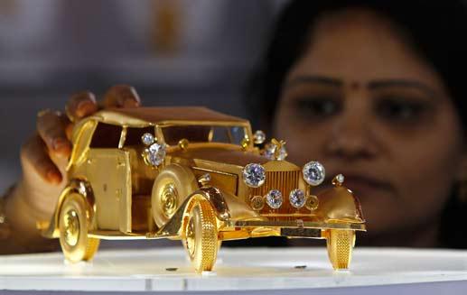 A Miniature Gold Car