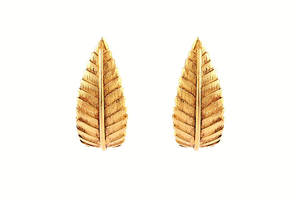 Gold Earrings Leaf Design