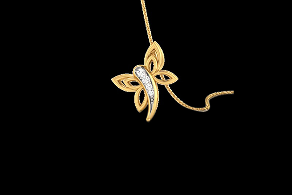 Diamond And Gold Butterfly Pendant