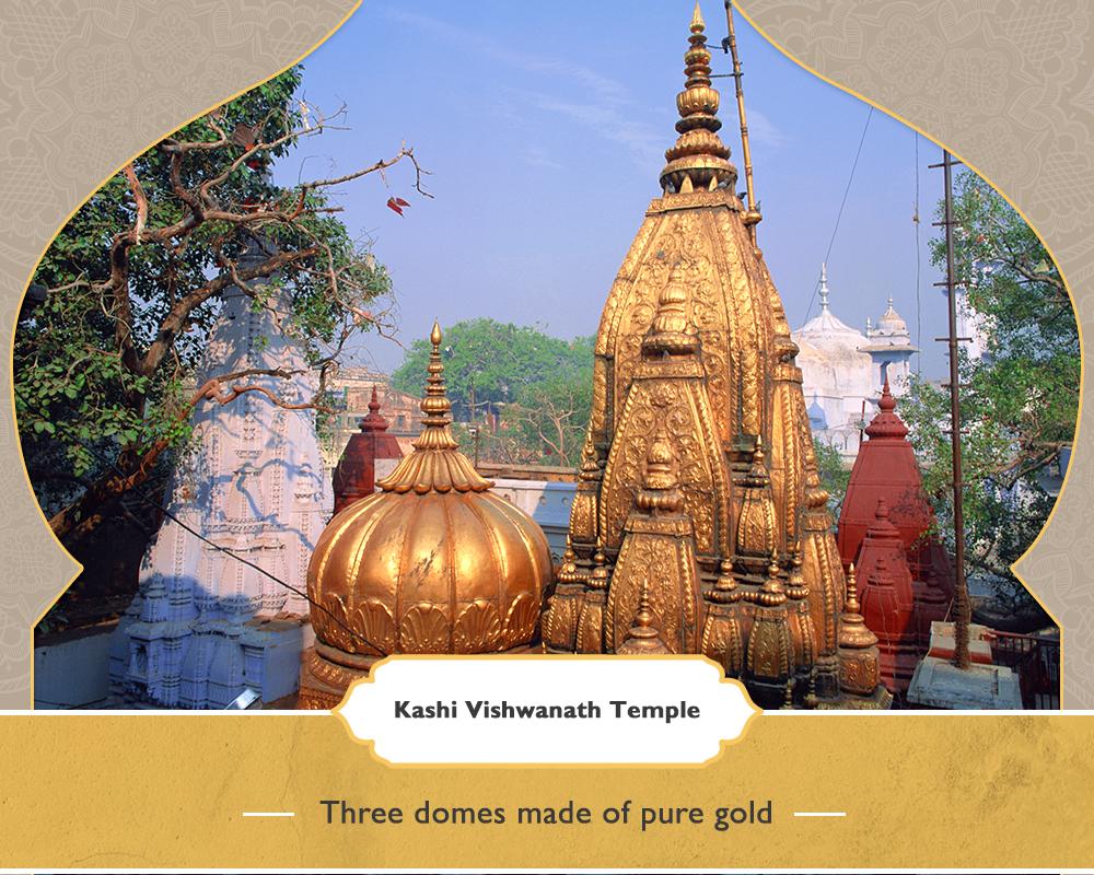 Kashi Vishwanath Temple, Varanasi - Three domes made out of pure gold
