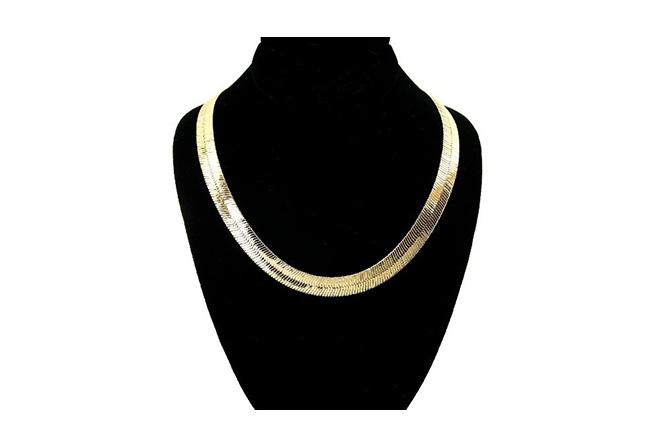 V Shaped Herringbone Gold Chain