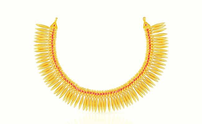 Gold Mullamottu Necklace