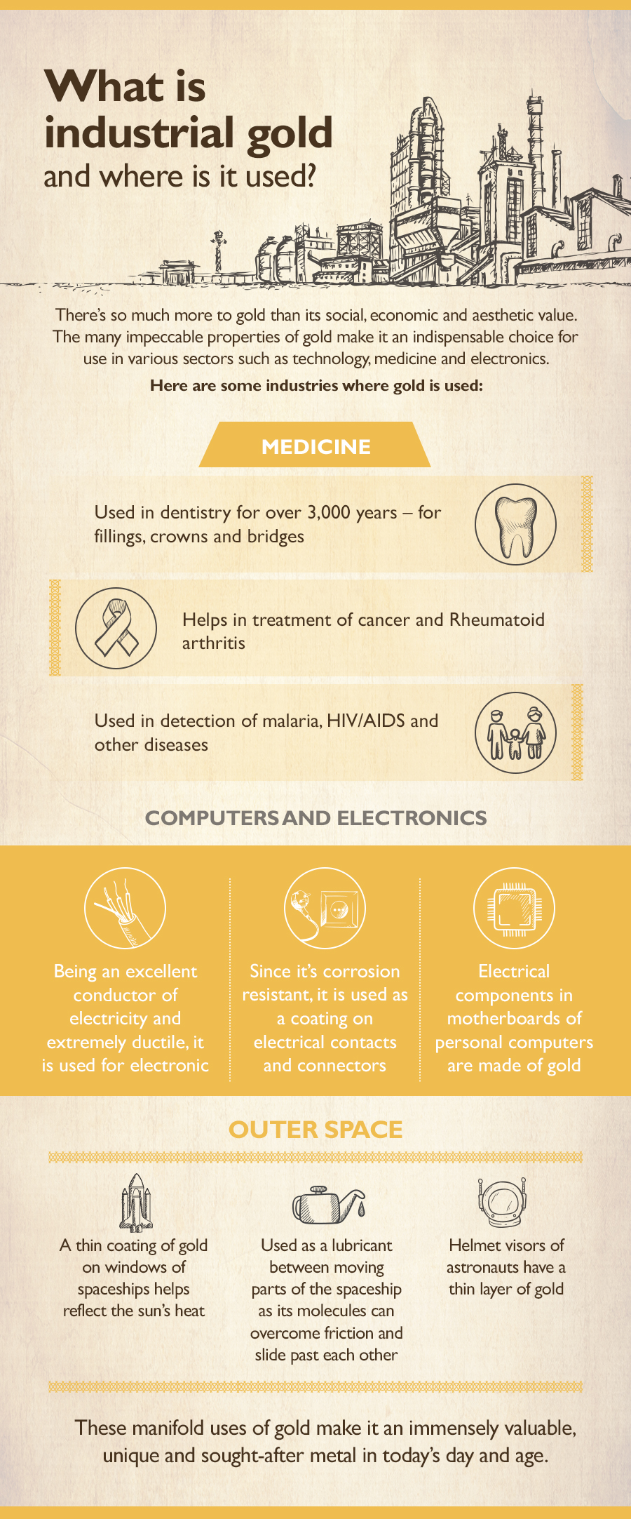 Gold has a number of industrial uses from radiation shielding on satellites to its value as a conductor of electricity in majority of the electronic devices