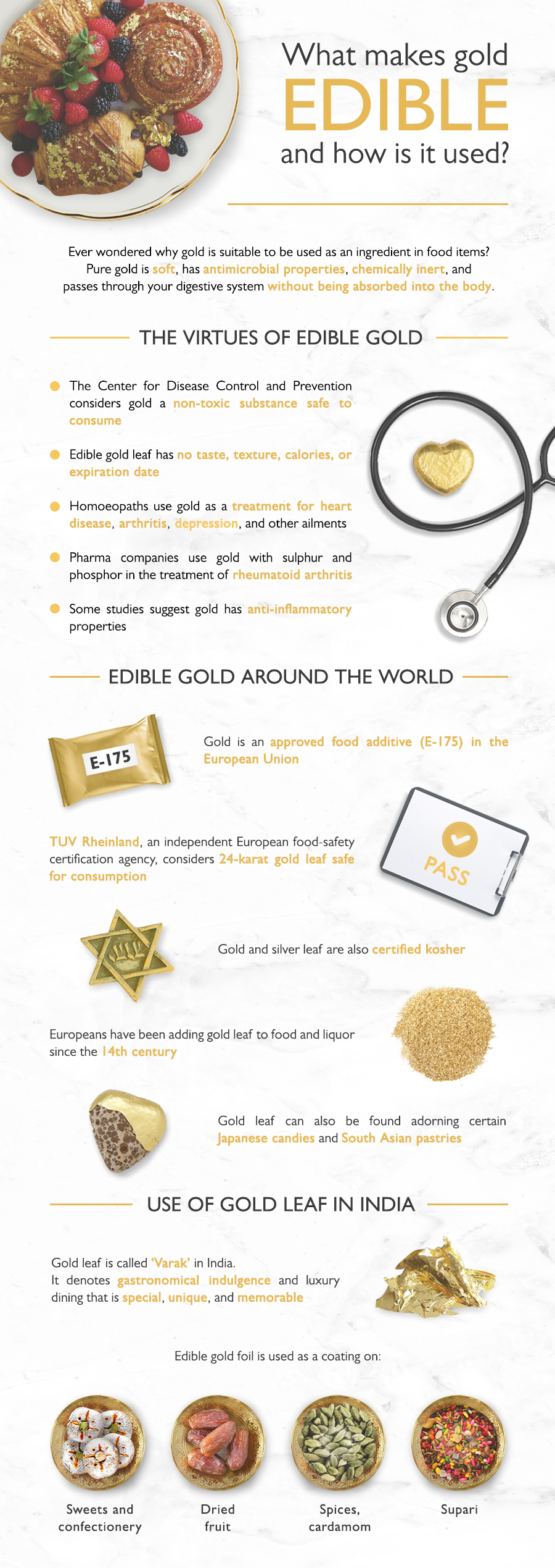A close look at the health benefits of gold and why it's used in preparing many delicacies