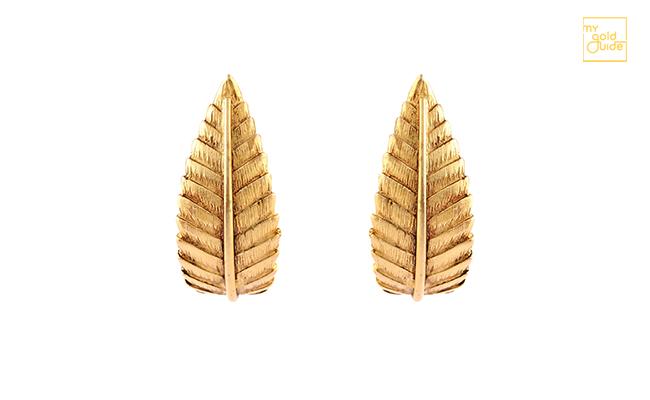 Gold Earrings Leaf Design